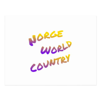 Norge world country, colorful text art postcard