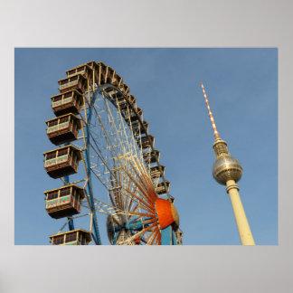 Noria con la torre de Berlín TV, Alex, Alemania Póster