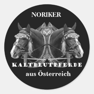 NORIKER de caballos de frío sangre de Austria Pegatina Redonda