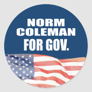 NORM COLEMAN FOR GOVERNOR ROUND STICKER