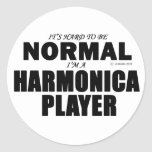 Normal Harmonica Player Round Stickers