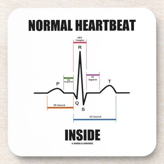 Normal Heartbeat Inside ECG EKG Electrocardiogram Beverage Coaster