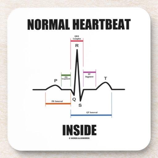 Normal Heartbeat Inside ECG EKG Electrocardiogram Drink Coasters