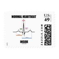 Normal Heartbeat Inside ECG EKG Electrocardiogram Postage Stamp