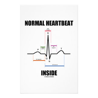 Normal Heartbeat Inside ECG EKG Electrocardiogram Stationery Design