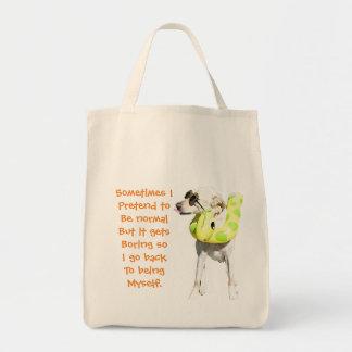 Normal is boring grocery bag. tote bag