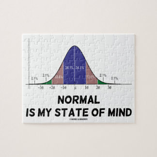 Normal Is My State Of Mind Bell Curve Geek Humor Jigsaw Puzzle