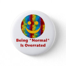 Normal Overrated (red/autism) Pinback Button
