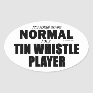 Normal Tin Whistle Player Oval Sticker