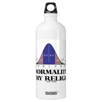 Normality Is My Religion (Bell Curve Humor) Water Bottle