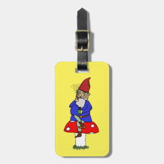 Norman Gnome Luggage Tag with Leather Buckle