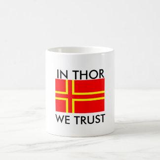 norman holy flag olaf, In Thor We Trust Classic White Coffee Mug