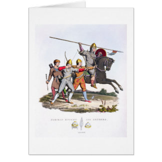 Norman Knight and Archers, 1066, from 'Ancient Arm Card