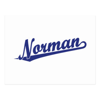 Norman script logo in blue postcard