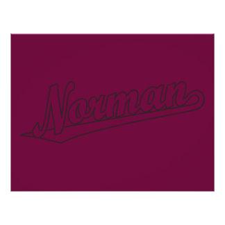 "Norman script logo in outline distressed 8.5"" x 11"" flyer"