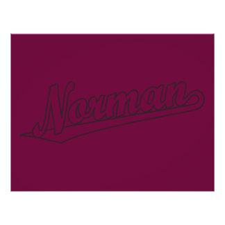 "Norman script logo in outline 8.5"" x 11"" flyer"
