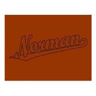 Norman script logo in outline postcard