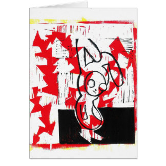 Norman the Bunny Greeting Card (red)