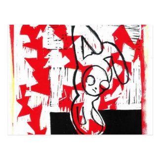 Norman the Bunny Postcard (red)