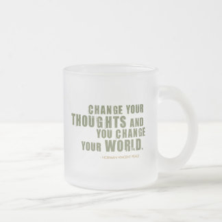 Norman Vincent Peale Quote Frosted Glass Coffee Mug
