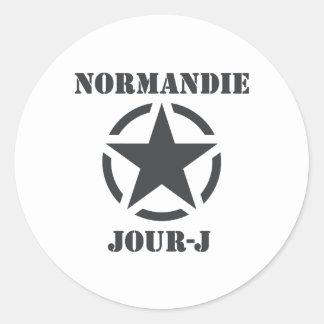 Normandía Día-J Pegatina Redonda