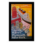 Normandie at New York Harbour Poster