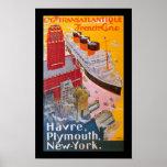 Normandie at New York Harbour Print
