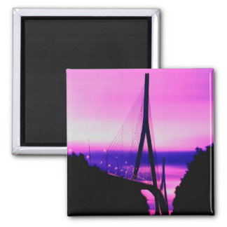 Normandy Bridge, Le Havre, France 2 2 Inch Square Magnet