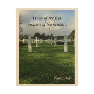 Normandy crosses on a cloudy day wood wall art