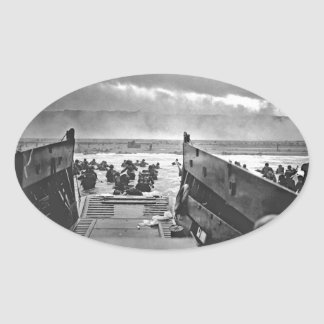 Normandy Invasion at D-Day - 1944 Oval Sticker
