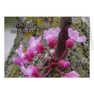 Norooz, árbol de Redbud en la floración, Tarjeta De Felicitación
