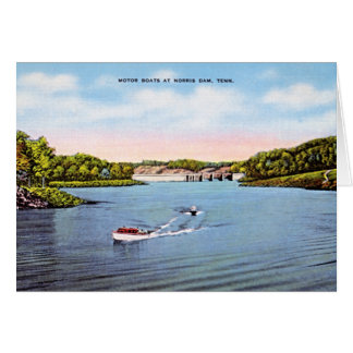 Norris Dam, Tennessee Boating in 1950 Greeting Card