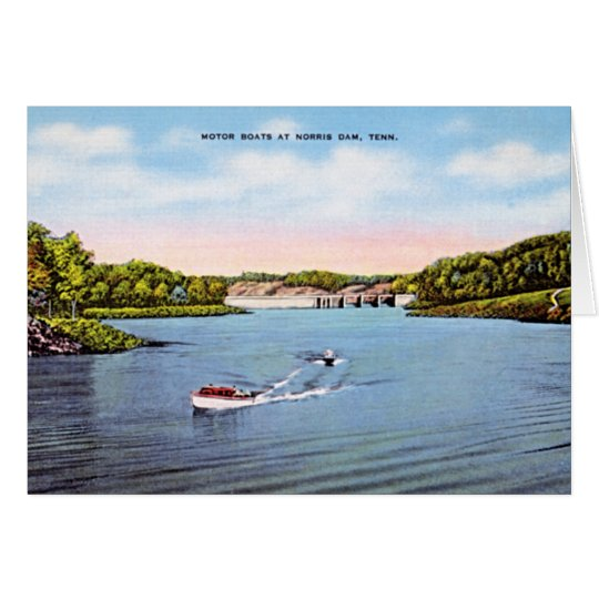 Norris Dam, Tennessee Boating in 1950 Card