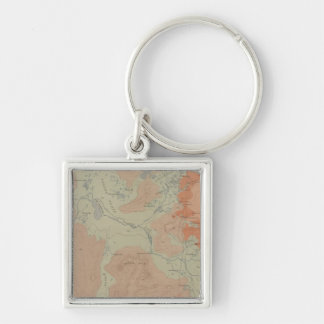 Norris Geyser Basin Silver-Colored Square Keychain