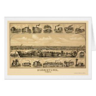 Norristown, PA Panoramic Map - 1881 Greeting Card