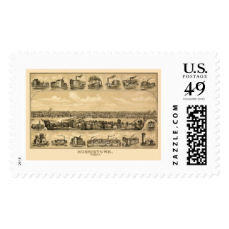 Norristown, PA Panoramic Map - 1881 Stamps