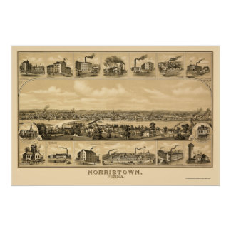 Norristown, PA Panoramic Map - 1881 Poster
