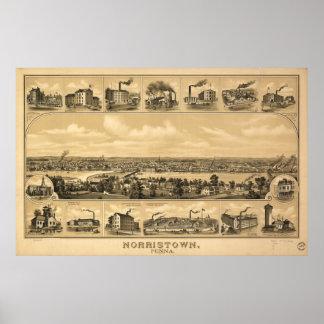 Norristown Pennsylvania 1881 Antique Panoramic Map Poster