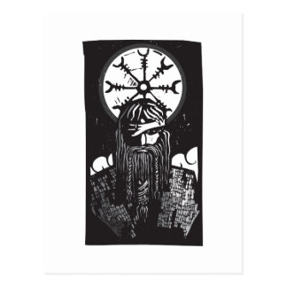 Norse God Odin and Wheel Symbol Postcard