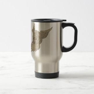 Norse God Odin Head Drawing Travel Mug