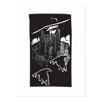 Norse God Odin With 2 Ravens Postcard