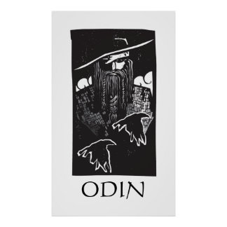 Norse God Odin With 2 Ravens Poster