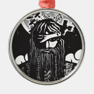 Norse God Odin with Spiral Crows Round Metal Christmas Ornament