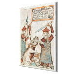 Norse god Tyr losing his hand to the bound wolf Stretched Canvas Print