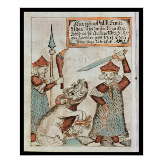 Norse god Tyr losing his hand to the bound wolf Poster