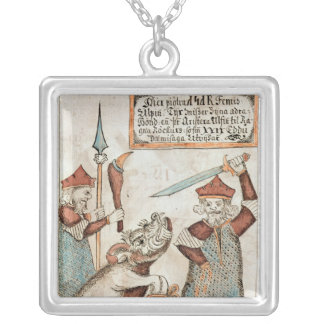 Norse god Tyr losing his hand to the bound wolf Square Pendant Necklace