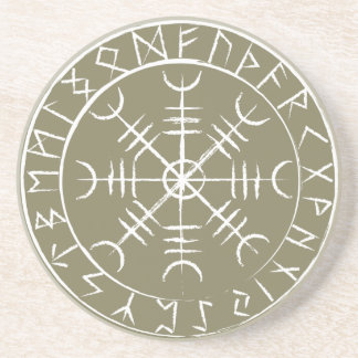 Norse Helm of Awe with Runes Drink Coaster
