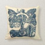 Norse Tree of Life Art Nouveau Throw Pillow