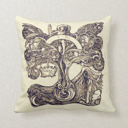Norse Tree of Life Art Nouveau Throw Pillow