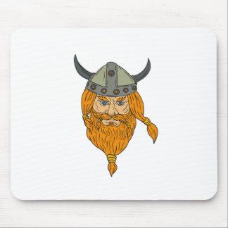 Norseman Viking Warrior Head Drawing Mouse Pad
